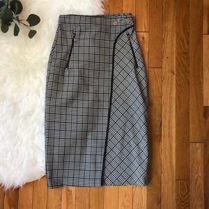 Zara Basics houndstooth pencil skirt zipper pocket